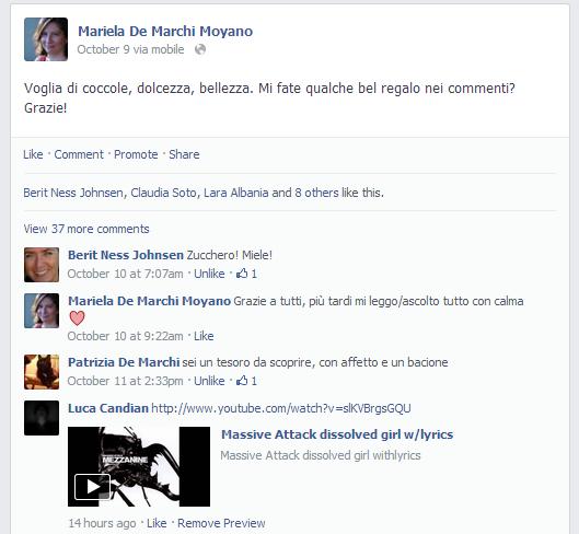 Status update su Facebook: Voglia di coccole, dolcezza, bellezza.